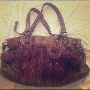 Isabella Fiore leather and knit bag
